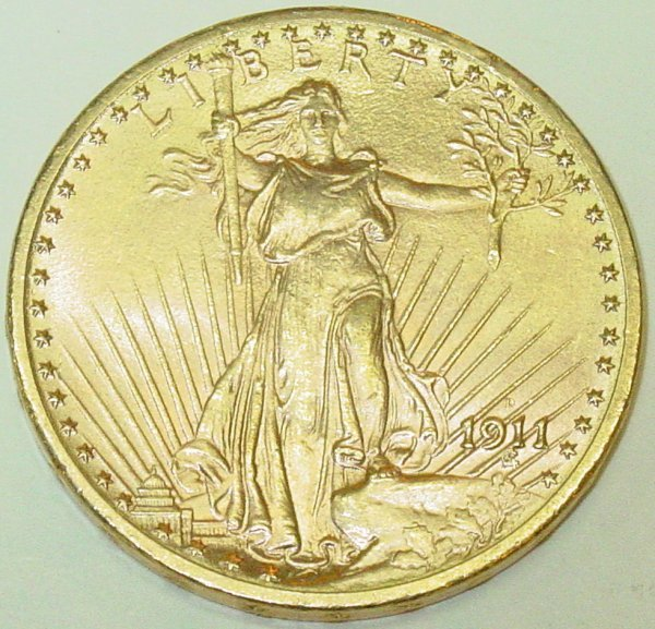1A: 1911-D $20 gold US coin, St. Gaudens
