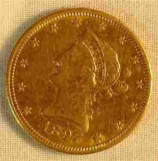 1897 S $10 gold US coin
