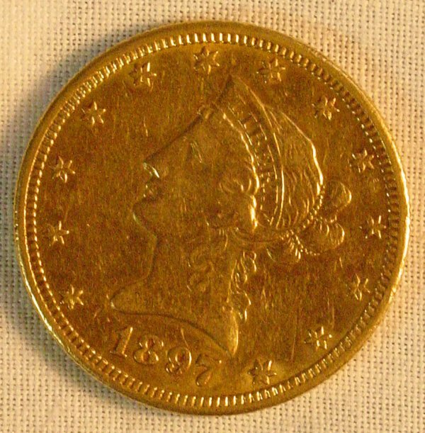 1C: 1897 S $10 gold US coin