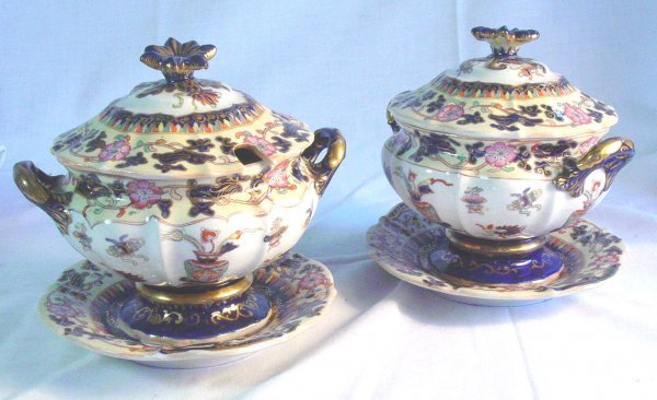 2: 19th c. Pair Mason's Ironstone gravy's pattern 2240
