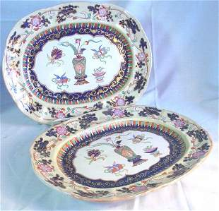 19th c. Pair Mason's Ironstone platters