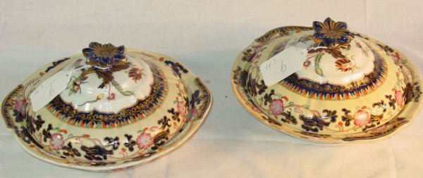 9: 19th c. Pair Mason's Ironstone vegetable servers