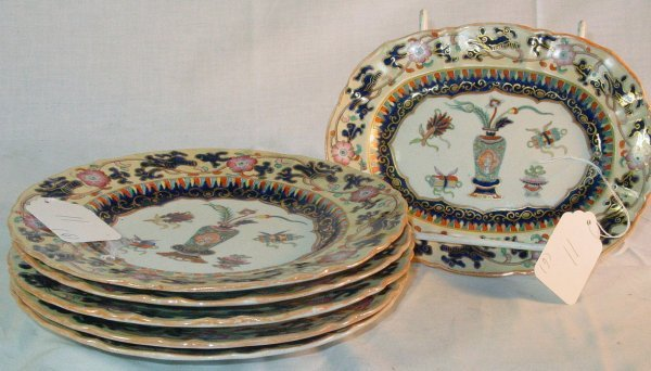 11: 19th c. Mason's Ironstone lot  Oriental pattern