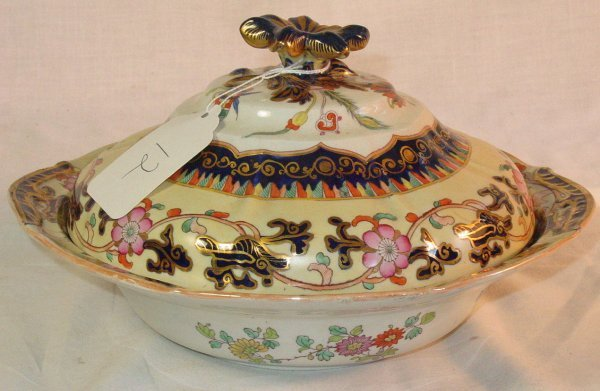 12: 19th c. Mason's Ironstone covered vegetable server
