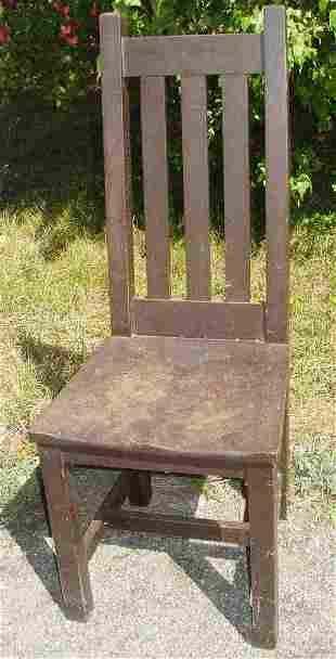 Mission oak Arts & Crafts plank seat high back side