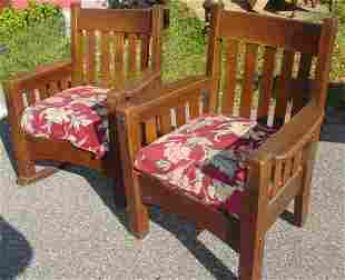 Pair Arts & Crafts mission oak chairs