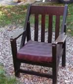 22: Unusual Mission oak Arts & Crafts chair