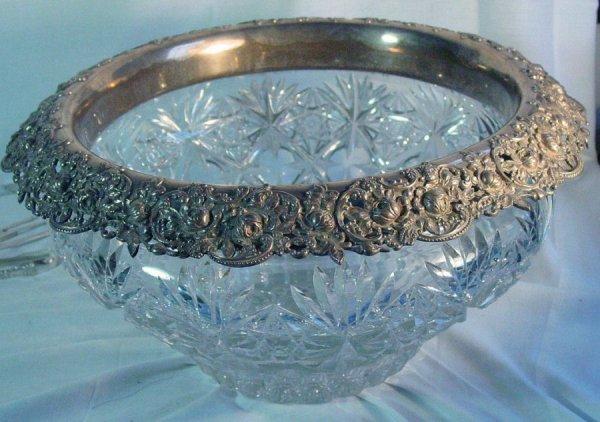 152: sterling silver rim brilliant cut glass punch bowl