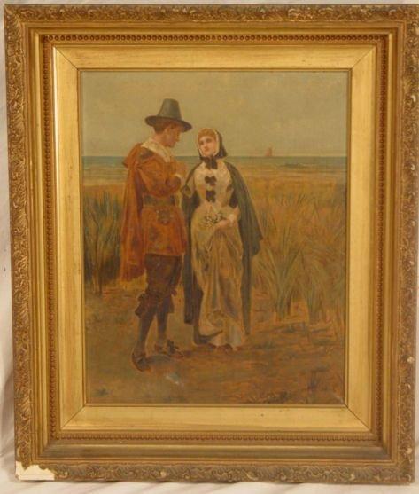 1003: circa 1930 John & Priscilla Alden oil