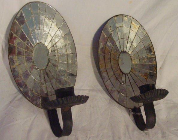 1004: Pair mirrored sconces