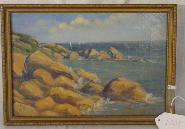 1005: seashore oil on canvas painting
