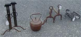 19th c. lot of fireplace items