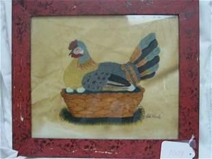 William Rank folk art theorem on velvet