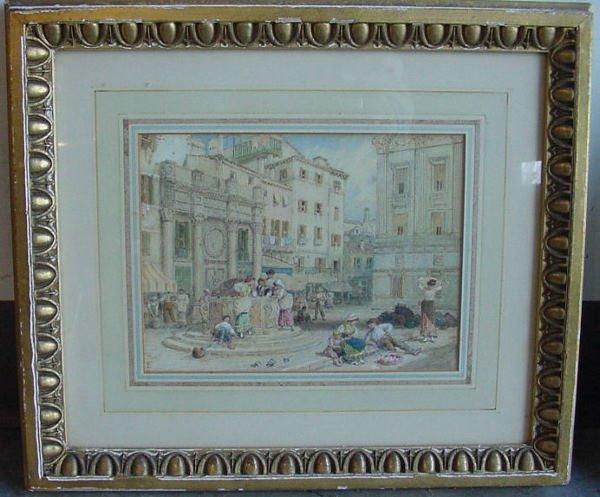 1145A: important 19th c. watercolor cityscape