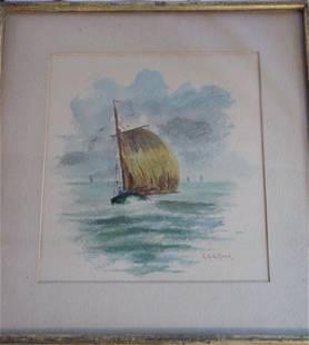 79: Charles Henry Gifford watercolor of sailboats