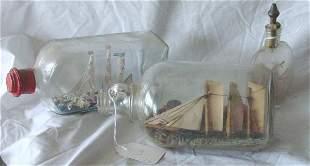 miniature ships in bottles