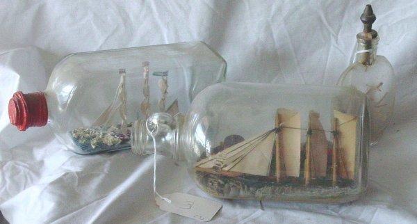 2: miniature ships in bottles
