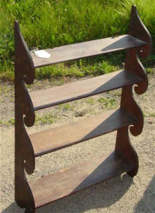antique mahogany wave shelf