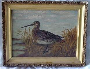 antique primitive shorebird painting