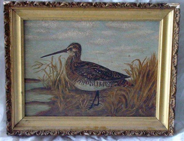 13: antique primitive shorebird painting