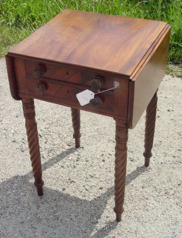 96: 2 drawer period Sheraton work table