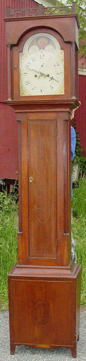 144: Antique birch tall clock