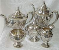 164A 5 piece sterling silver teaset