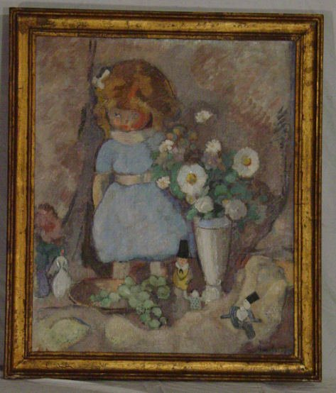 8: still life of flowers and dolls