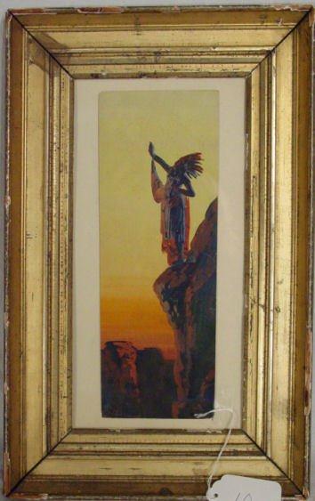 10: A. Thieme Indian chief guache on paper