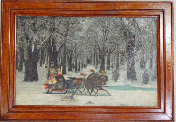 22: primitive sleigh ride painting