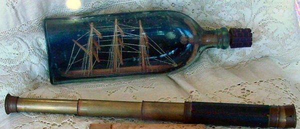 10: lot antique marbles, spyglass, ship in bottle