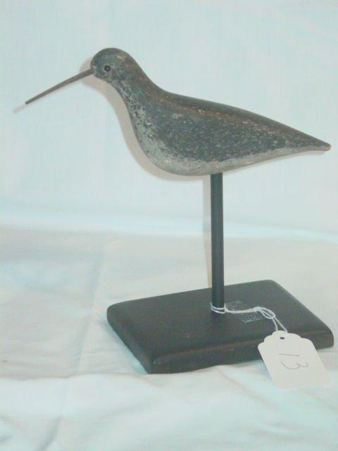 13: circa 1900 Shorebird decoy on stand