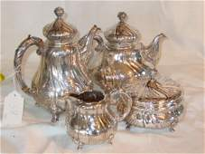 58 German Sterling Silver repousse teaset
