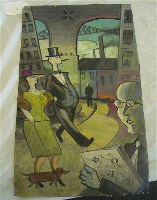Modern abstract painting of city scape