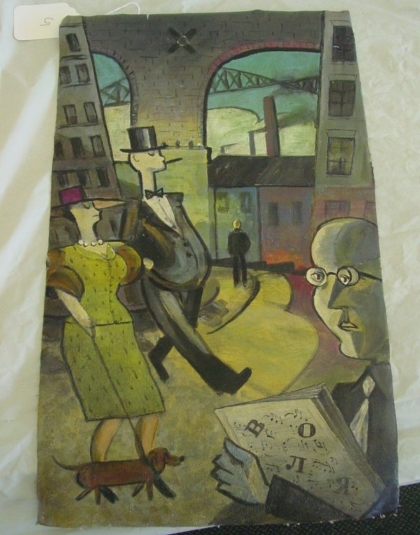 5: Modern abstract painting of city scape
