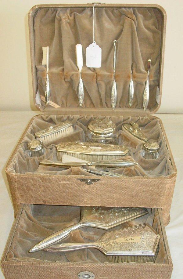 7: cased Sterling silver dresser set