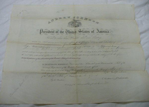 13: Andrew Johnson presidential document