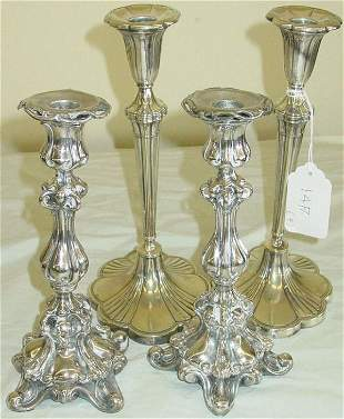2 pair 19th c. candlesticks