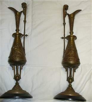 Pr. Bronze mantel urns