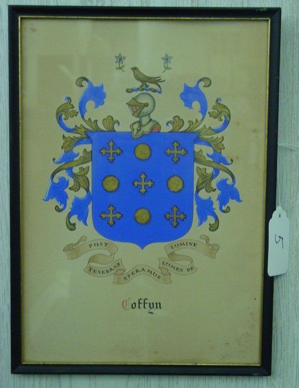 "5: Coffin"" family - Nantucket coat of arms"
