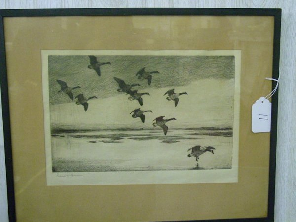 11: Frank Benson signed etching