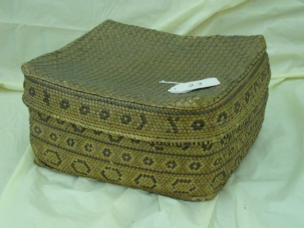 23: Antique covered Native American Indian basket