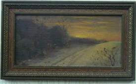 89: New Bedford sunset landscape painting