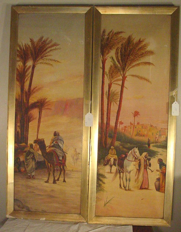 10: pair Egyptian paintings