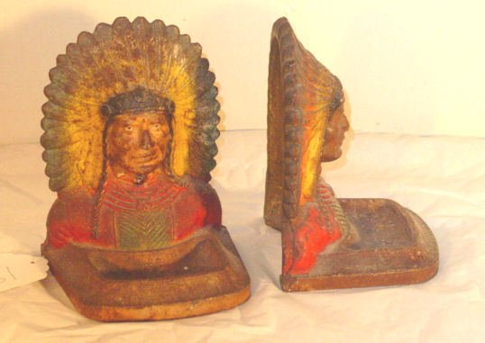18: Pair cast iron Indian bookends