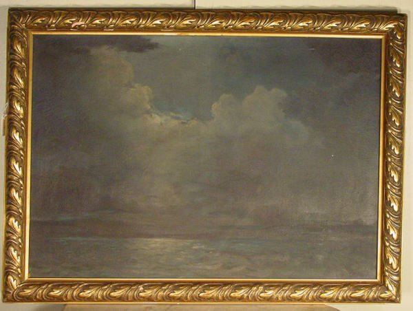 19: framed oil painting landscape on canvas