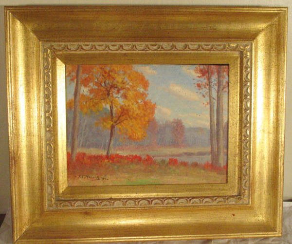 22: F.E. Roberts autumn oil painting