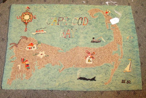1012: antique Cape Cod hooked rug