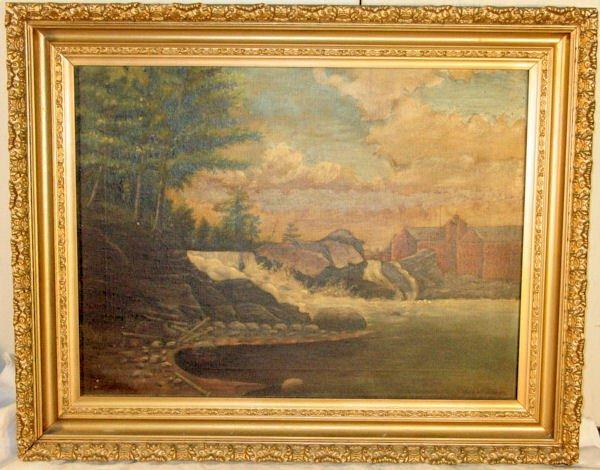1017: American primitive Maine oil painting