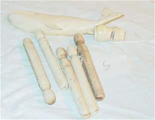 lot of antique bone items